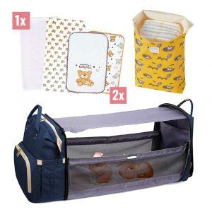 Комплект раница с разгъваема кошара за бебе + плик за памперси